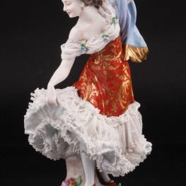 Балерина в красном платье, кружевная, Volkstedt, Германия, до 1935 г