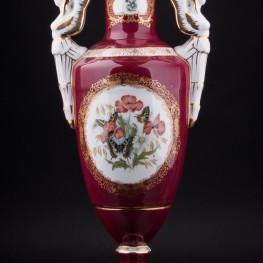 Фарфоровая Ваза Красная ваза Бабочки, Франция,, сер. 20 в.