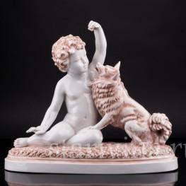Статуэтка Мальчик с собакой, Villenauxe, Франция, пер. пол. 20 в.