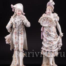 Две фарфоровые статуэтки  Галантная пара, Германия, 19 в.
