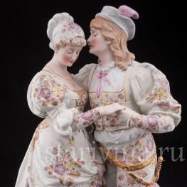 Большая фарфоровая композиция Пара в ренессансных костюмах, Франция,, 19 в.