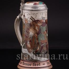 Антикварная пивная кружка Рыцарь с конем, Marzi & Remy, Германия, нач. 20 в.
