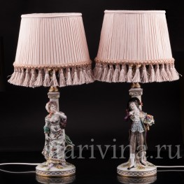 Две фарфоровые лампы Галантная пара, Volkstedt, Германия, кон. 19, нач. 20 вв.