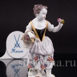 Фарфоровая статуэтка Девочка с цветами, Meissen, Германия, сер. 19 - нач. 20 вв.