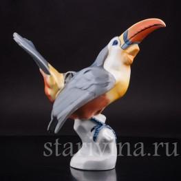 Фарфоровая статуэтка птицы Тукан, Fritz Krug KG, Германия,, 1902-1968 гг.