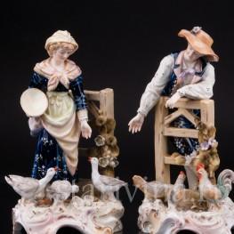 Парные фарфоровые статуэтки Птичники, пара с домашней птицей, E & A Muller (Schwarza-Saalbahn), Германия, кон. 19, нач. 20 вв.