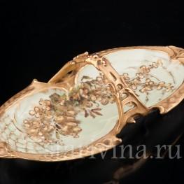 Декоративное фарфоровое Блюдо цветущая ветвь, Wien Teplitz, Австрия,, нач. 20 в.