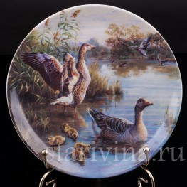 Декоративная фарфоровая тарелка Бдительные гуси, Ottlinger Porzellan, Германия, 1995 г.
